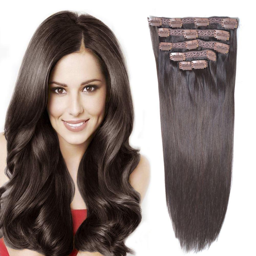 100 Human Remy Hair Extensions Clip In Dark Brown Kiwi Grab